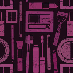 Purple and black scratched seamless pattern  with makeup objects