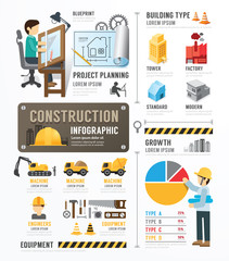 Construction Template Design Infographic . concept vector