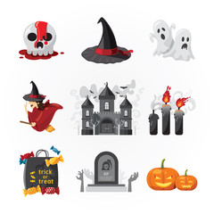 halloween icons design vector