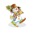 cheerful snowman with Christmas tree