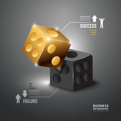 Gold Dice Infographic  Template.Business Concept Vector