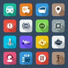 flat iconset automobile colorful set 3