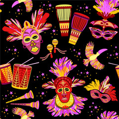 Brazilian Carnival. Vector colorful seamlees pattern.
