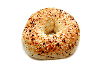 Everything Bagel Isolated Over a White Background