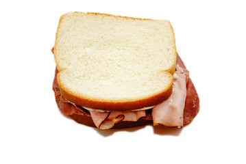 Ham and Roast Beef Sandwich Isolated on White