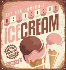 Retro ice cream tin sign design concept