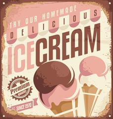 Retro ice cream tin sign design concept