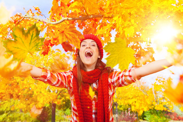 autumn laughing girl