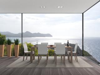 Innenarchitektur mit Blick auf des Meer