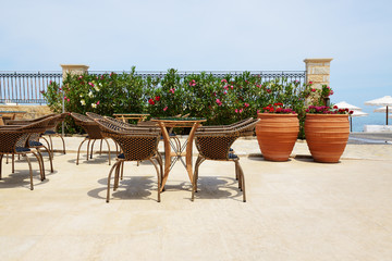 Villa decorated with flowers at luxury hotel, Crete, Greece