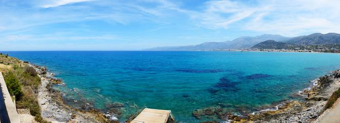 The panorama of beach, Crete island, Greece