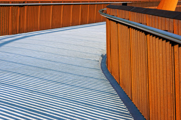 pedestrian bridge with handrail