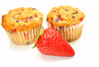 Berry Muffins with a Fresh Whole Strawberry