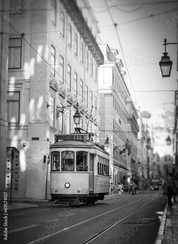 canvas print picture Tram in Lisbon, retro