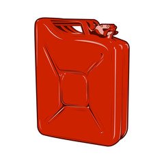 Red jerrycan isolated on a white background. Color line art