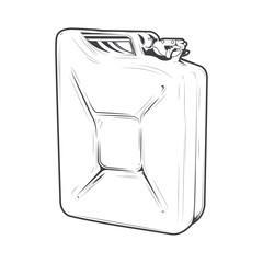 Jerrycan isolated on a white background. Line art