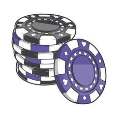 Black and violet stacks of gambling chips, casino tokens