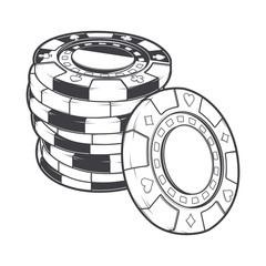 Stacks of gambling chips, casino tokens. Line art