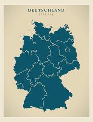 Moderne Landkarte - Deutschland