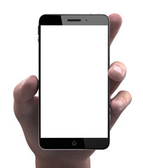 MAn hand holding smart phone with blank display isolated