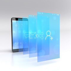 Custom smart phone with flying screens