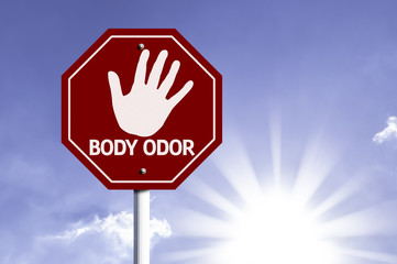Stop Body Odor red sign with sun background