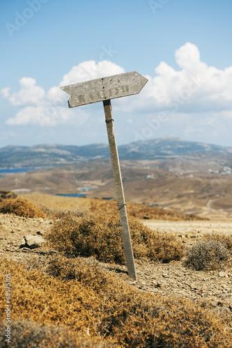 canvas print picture Wegweiser auf der Insel Astypalea, Dodekanes