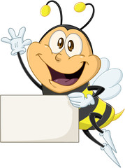 Bee Holds Sign And Waves Hello