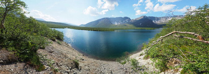Lake in the mountain. Panorama