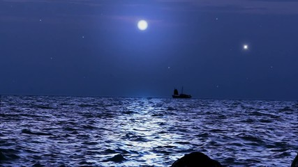 Ship sails under the moon in magical night on Koh Samui