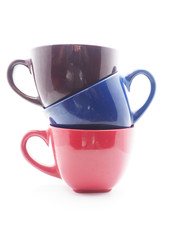 colorful cups on white background