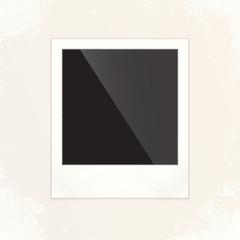 Retro photo frame, grunge design, vector illustration