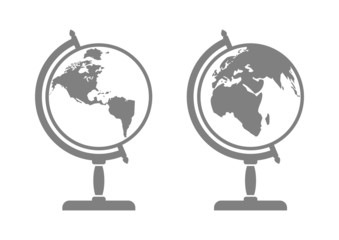 Grey globe icons on white background