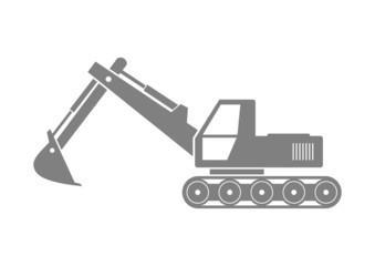 Grey excavator icon on white background