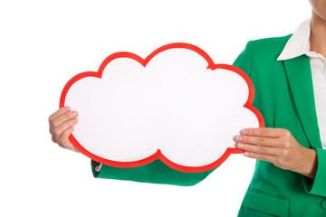 Rotes Werbeschild oder Plakat isoliert mit Grün und Weiß