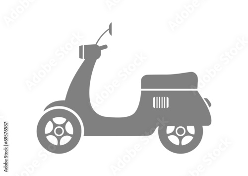 Grey scooter icon on white background - 69576587