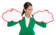 Konzept Entscheidung: Frau mit zwei Schildern - Pro Contra