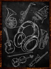 Headphone Sketch Music Instruments on Blackboard