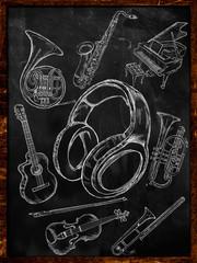 Headphone Sketch Music Instruments on Blackboard