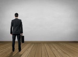 Empty Room / Wooden Floor with Businessman