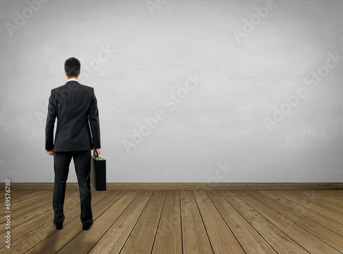 canvas print picture Empty Room / Wooden Floor with Businessman