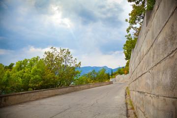 Landscape of Crimea, empty road