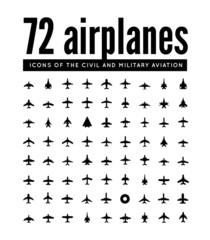 72 vector icons of airplanes