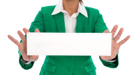 Weißes leeres Werbeschild mit einer Frau in Grün