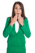 Schockierte erstaunte Business Frau in Grün mit Hand vor Mund