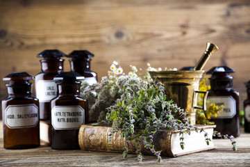 Medicine bottles and herbs