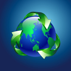 vector illustration of a clean green blue planet recycle