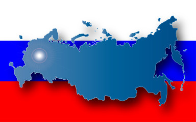 Russia map on flag background