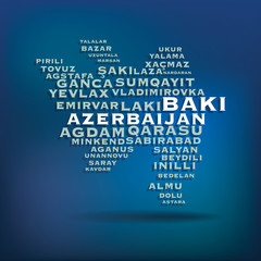 Azerbaijan map made with name of cities