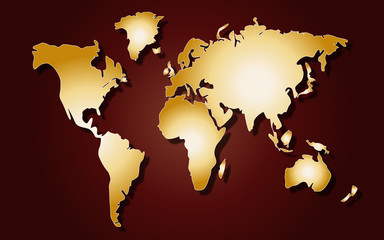 World map on red background
